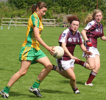 Action from the All-Ireland ladies minor football final between Donegal and Galway..