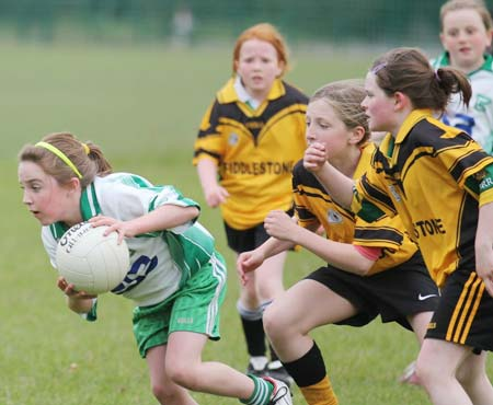 Action from the under 12 girls challenge between Aodh Ruadh and Erne Gaels in P�irc Aoidh Ruaidh.