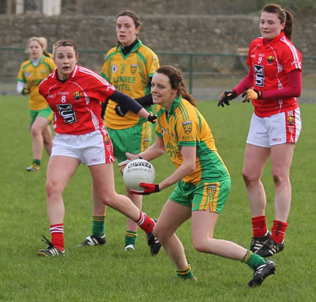 Action from the 2012 NFL division two clash between Donegal and Cork in P�irc Aoidh Ruaidh.