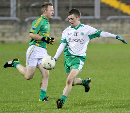 Action from the intermediate reserve football championship game against Naomh Columba.