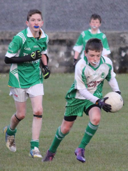 Action from the under 14 league game between Aodh Ruadh and Naomh Mhuire.