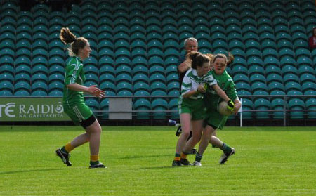 Action from the ladies under 14 match between Aodh Ruadh and MacCumhaill's.