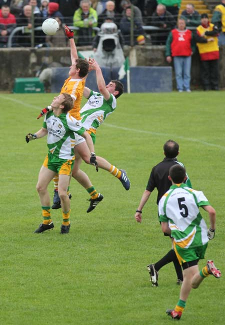 Action from the minor Ulster championship game between Donegal and Antrim.