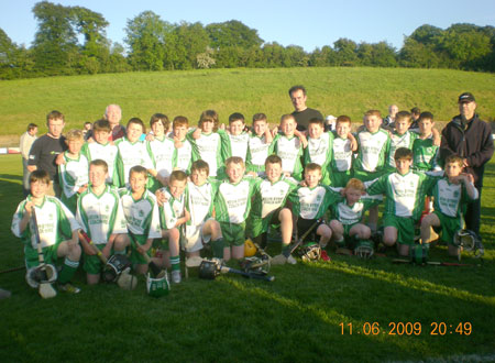The victorious Aodh Ruadh under 12 team which defeated Lisbellaw in the Fermanagh League final with manager John Rooney and selectors Peter Horan and Billy Finn.