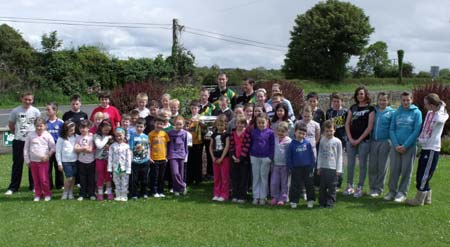 Lory Meagher visits Rockfield National School.