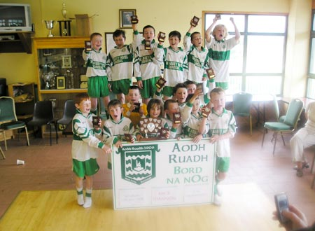 Aodh Ruadh's 'B' team celebrate after victory over Melvin Gaels in the Mick Shannon under 10 tournament..